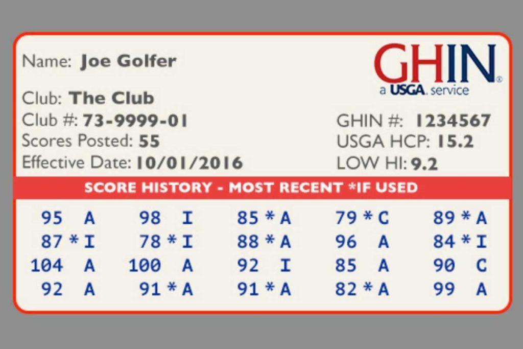 golf handicap GHIN card